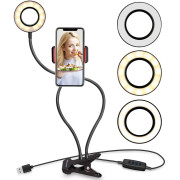 Selfie Ring Light con luz LED, control de brillo + brazos flexibles