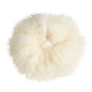Hair Elastic with Fur - Faux Scrunchie, White