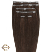 Clip on hair extensions #33 Copper brown - 7 pieces - 60 cm | Gold24