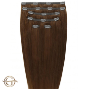 Clip on hair extensions #6 Brown - 7 pieces - 60 cm | Gold24