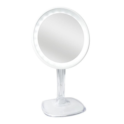 Halo Rechargeable LED Mirror with 10x Magnification - White