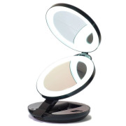 Compact Double-Sided Travel Mirror with LED and 10x Magnification - Black