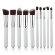 PRO Makeup Brushes White / Silver - 10 pcs