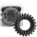 SOHO® Spiral Hair Ring Elastics, All Black - 3 pcs